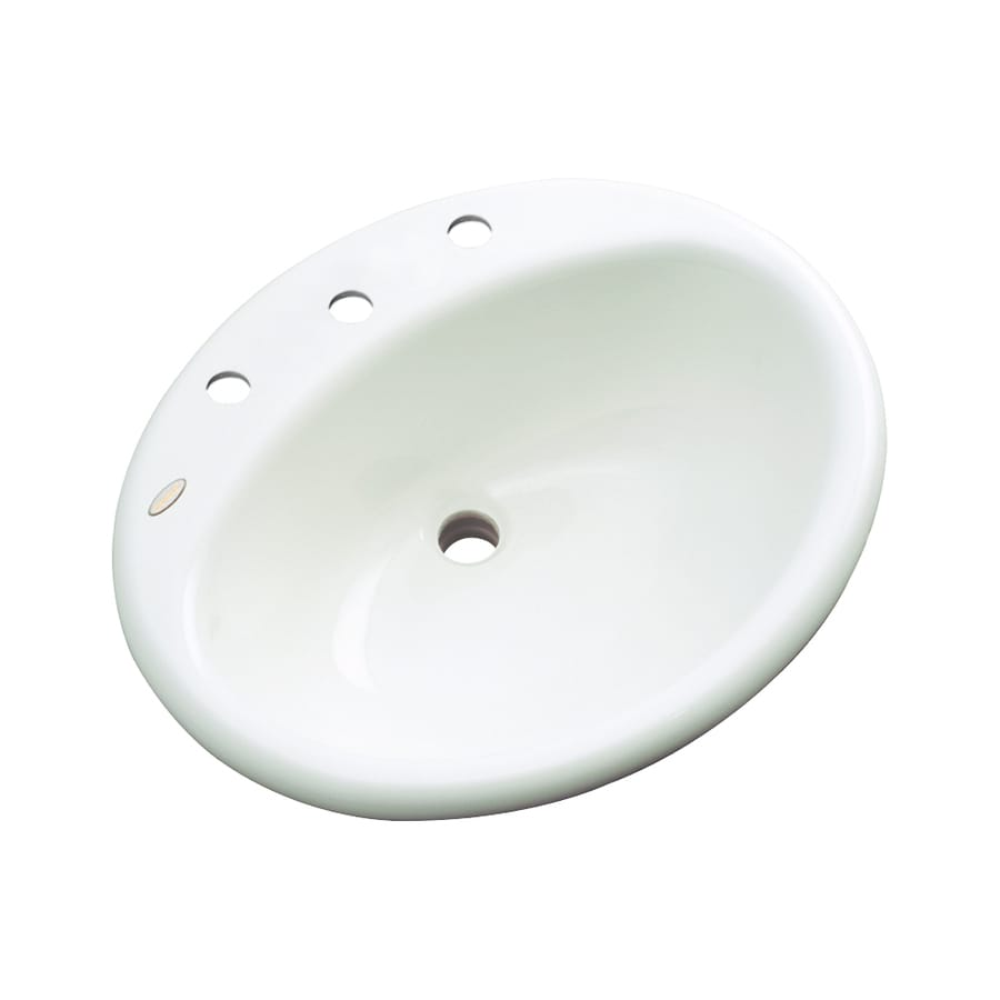 Dekor Caribou White Composite Drop-In Oval Bathroom Sink with Overflow