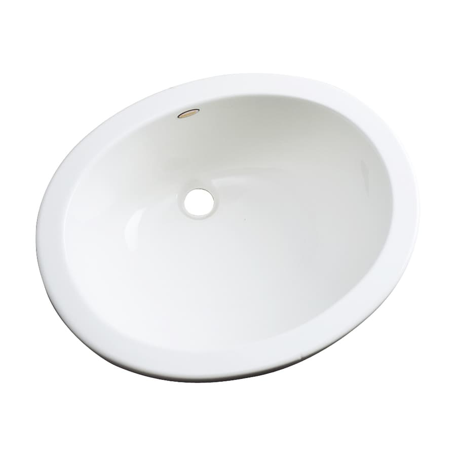 Dekor Ellsworth White Composite Undermount Oval Bathroom Sink with Overflow