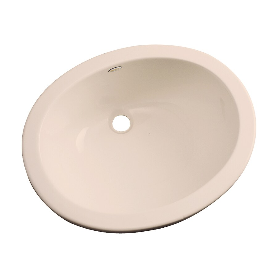 Dekor Ellsworth Peach Bisque Composite Undermount Oval Bathroom Sink with Overflow