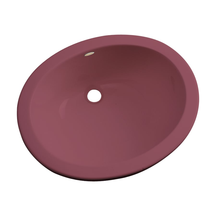 Dekor Ellsworth Raspberry Puree Composite Undermount Oval Bathroom Sink with Overflow