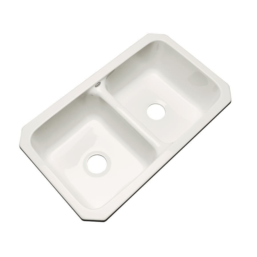 Dekor Master 18.25-in x 33-in Biscuit Double-Basin Acrylic Undermount Residential Kitchen Sink