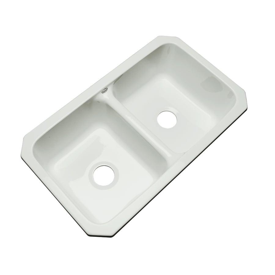 Dekor Master 18.25-in x 33-in Ice Gray Double-Basin Acrylic Undermount Residential Kitchen Sink