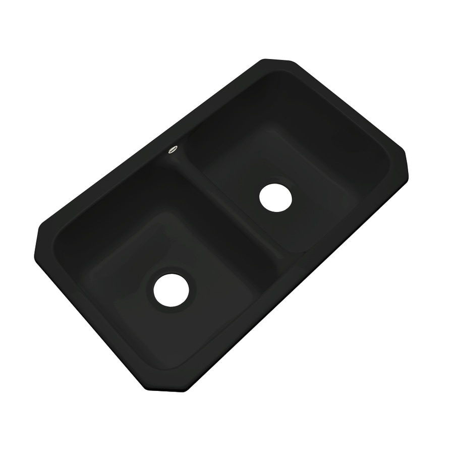 Dekor Master 18.25-in x 33-in Black Double-Basin Acrylic Undermount Residential Kitchen Sink