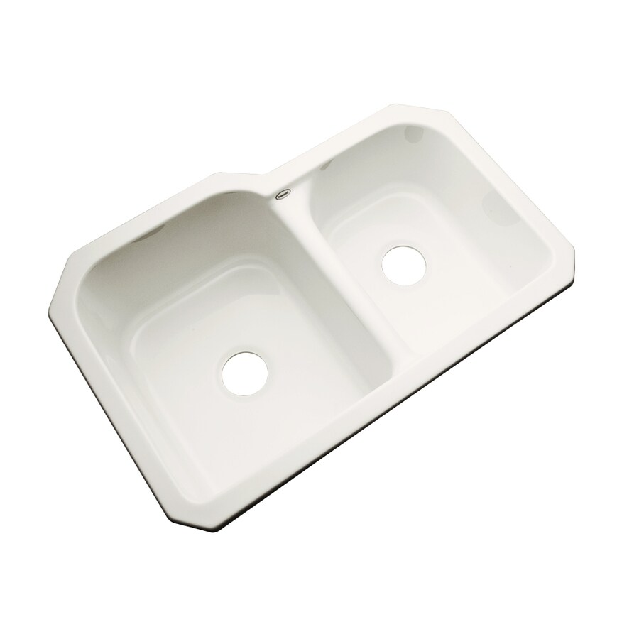 Dekor Master 21.5-in x 32.5-in Biscuit Double-Basin Acrylic Undermount Residential Kitchen Sink