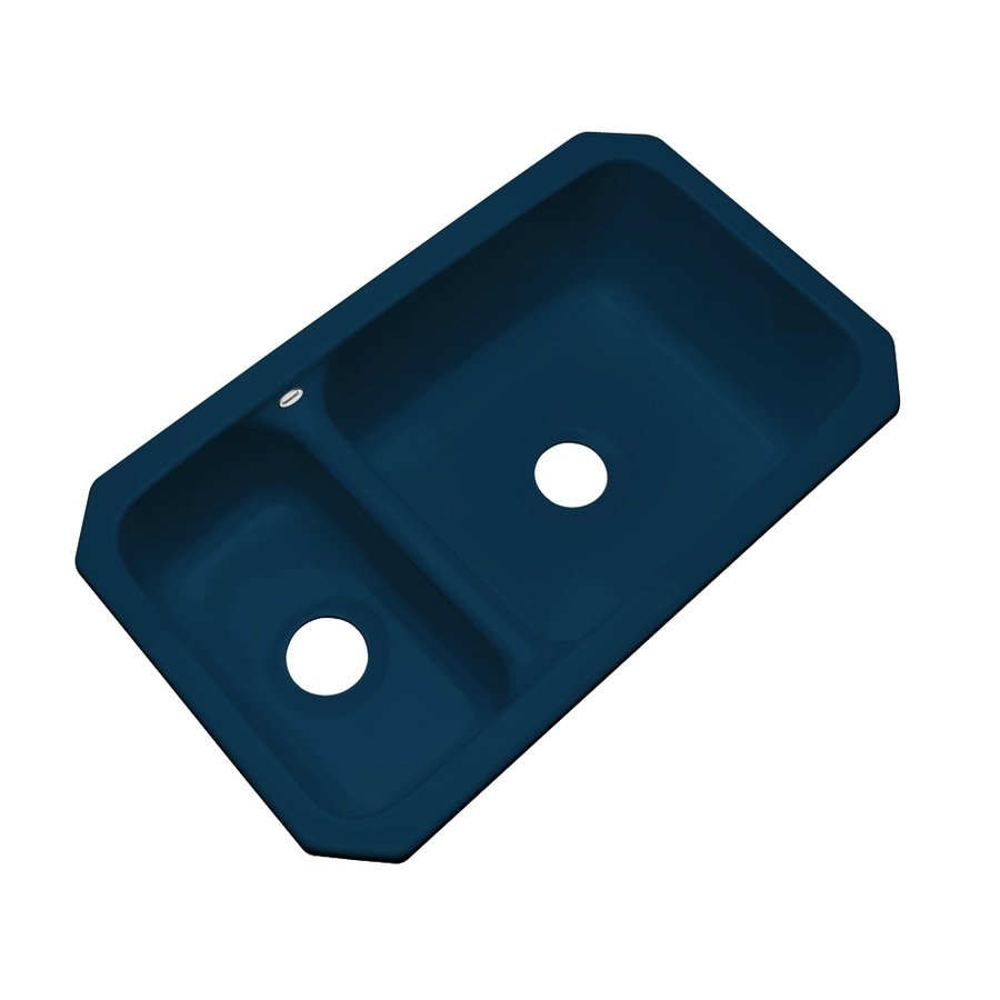 Dekor Master 18.25-in x 33-in Navy Blue Double-Basin Acrylic Undermount Residential Kitchen Sink