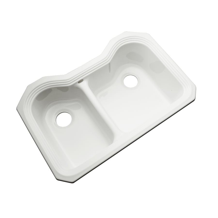 Dekor Master 21.5-in x 32.5-in White Double-Basin Acrylic Undermount Residential Kitchen Sink