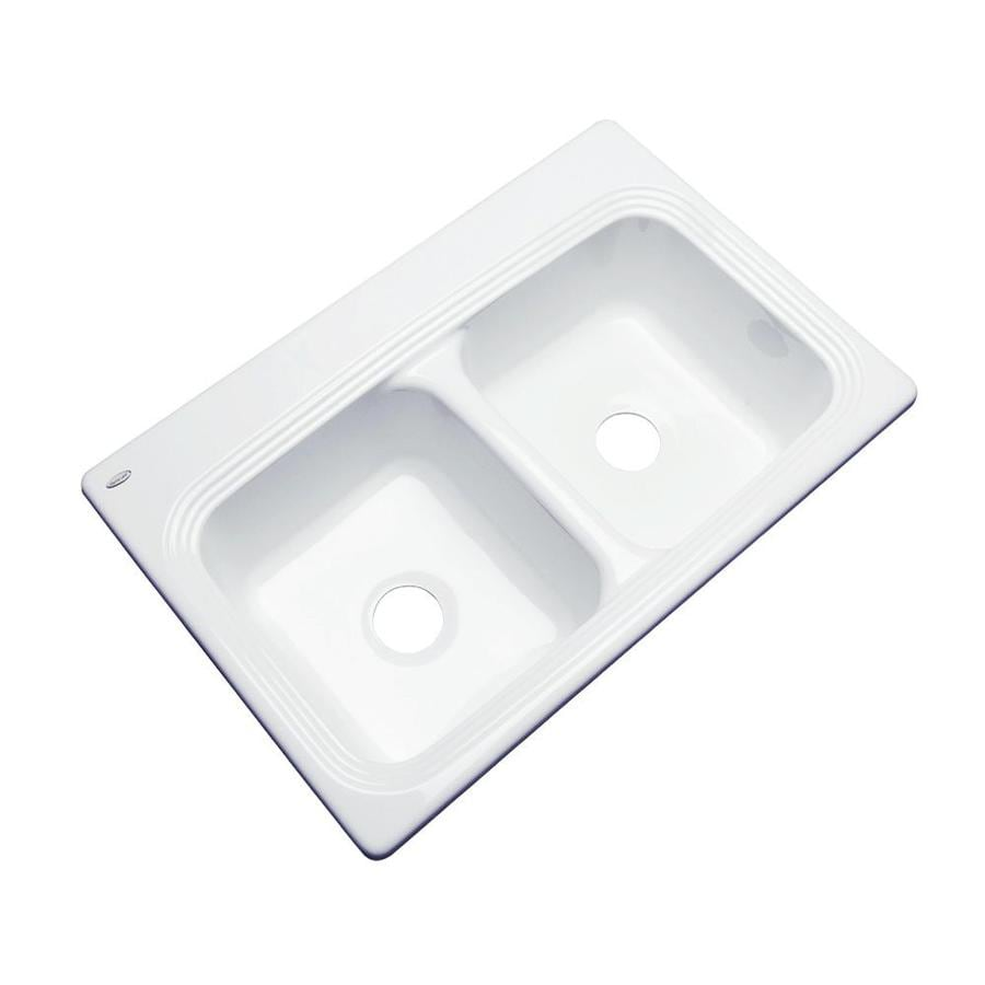 Dekor Master 19-in x 33-in White Double-Basin Acrylic Undermount Residential Kitchen Sink