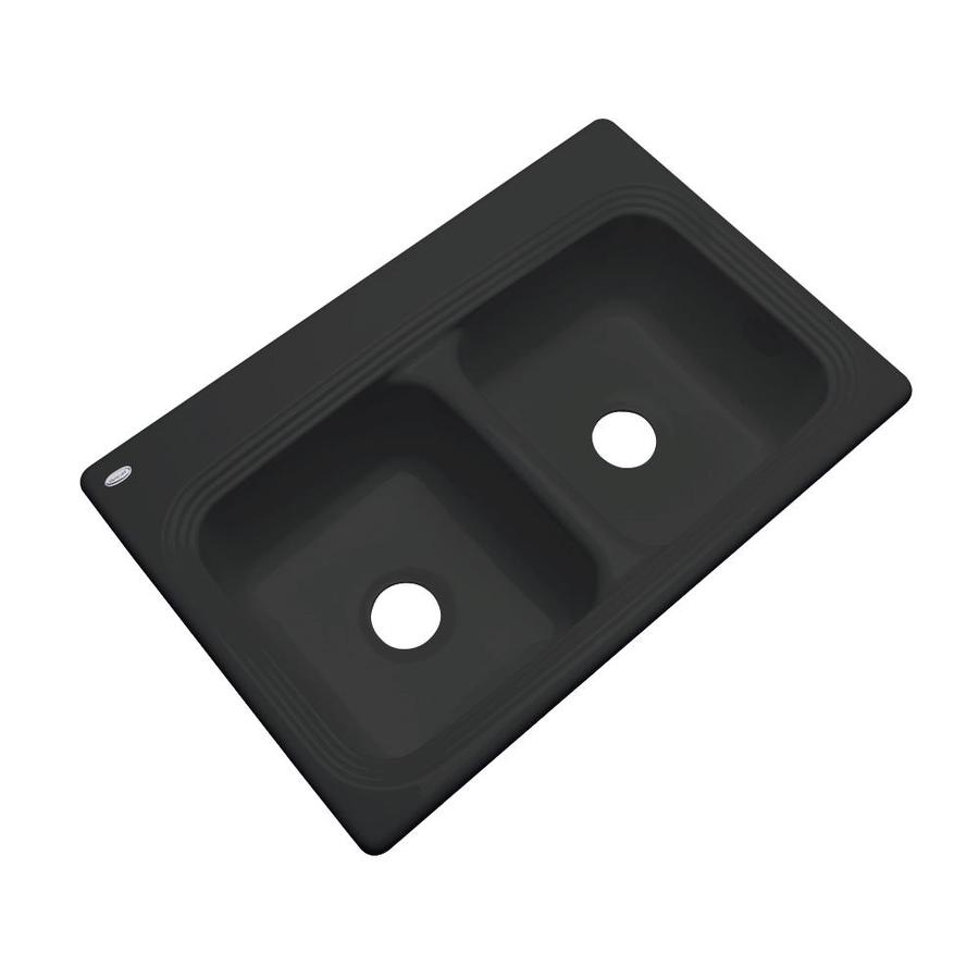 Dekor Master 21.5-in x 32.5-in Black Double-Basin Acrylic Undermount Residential Kitchen Sink
