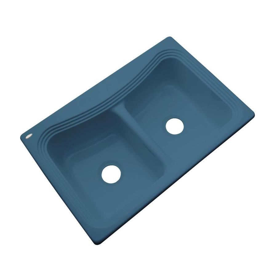 Dekor Master 21.5-in x 32.5-in Rhapsody Blue Double-Basin Acrylic Undermount Residential Kitchen Sink