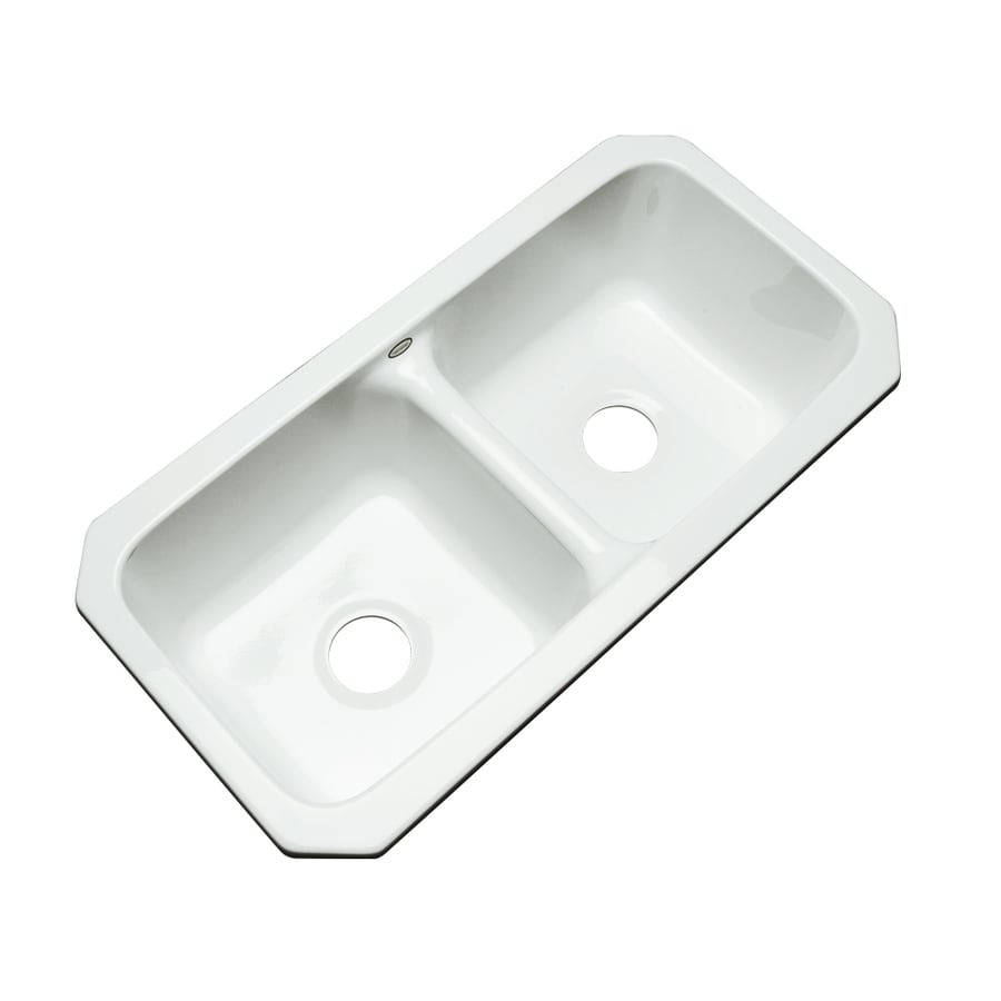 Dekor Master 18.5-in x 32.5-in White Double-Basin Acrylic Undermount Residential Kitchen Sink