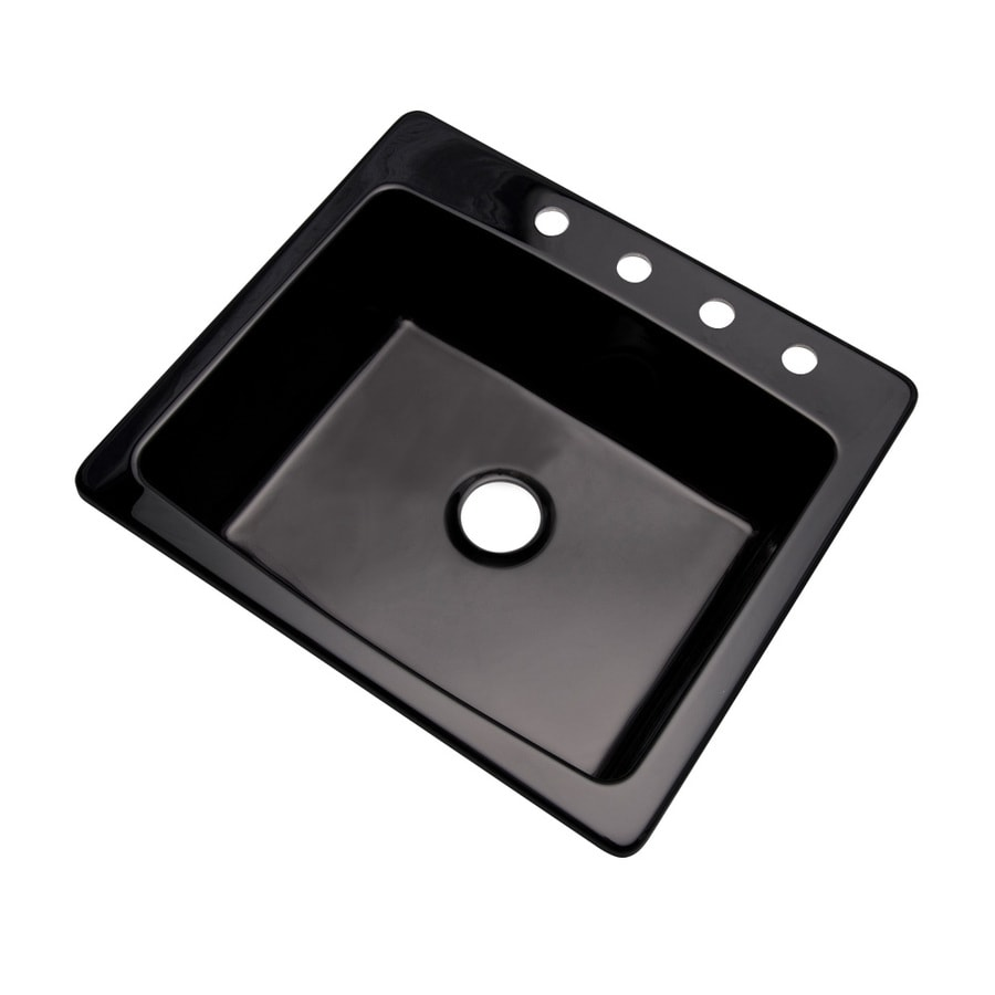 Dekor Master 22-in x 25-in Black Single-Basin Granite Drop-in or Undermount 4-Hole Residential Kitchen Sink