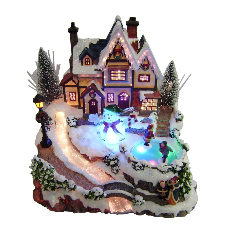 holiday living fiber optic village with animated skaters - Lowes Christmas Village