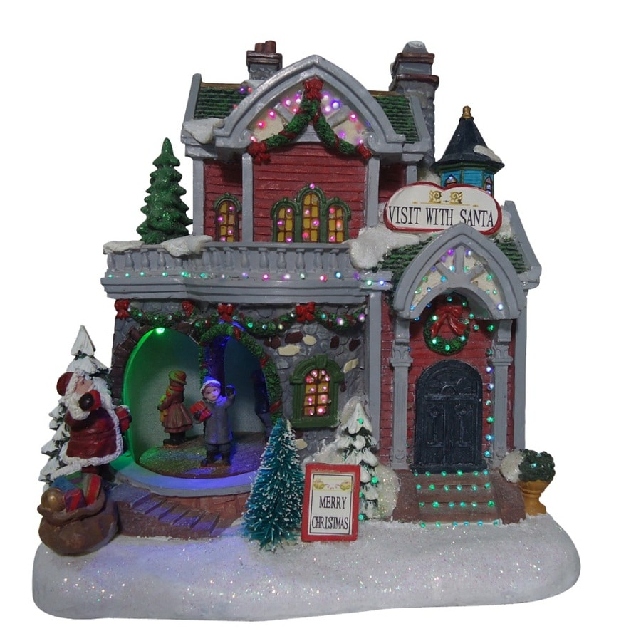 holiday living lighted animated santa village with children - Lowes Christmas Village