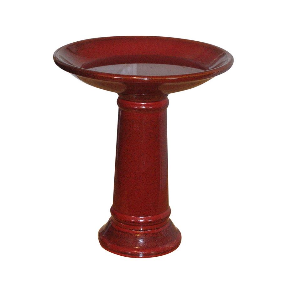 ANGEL Small Ceramic Red Glazed Birdbath