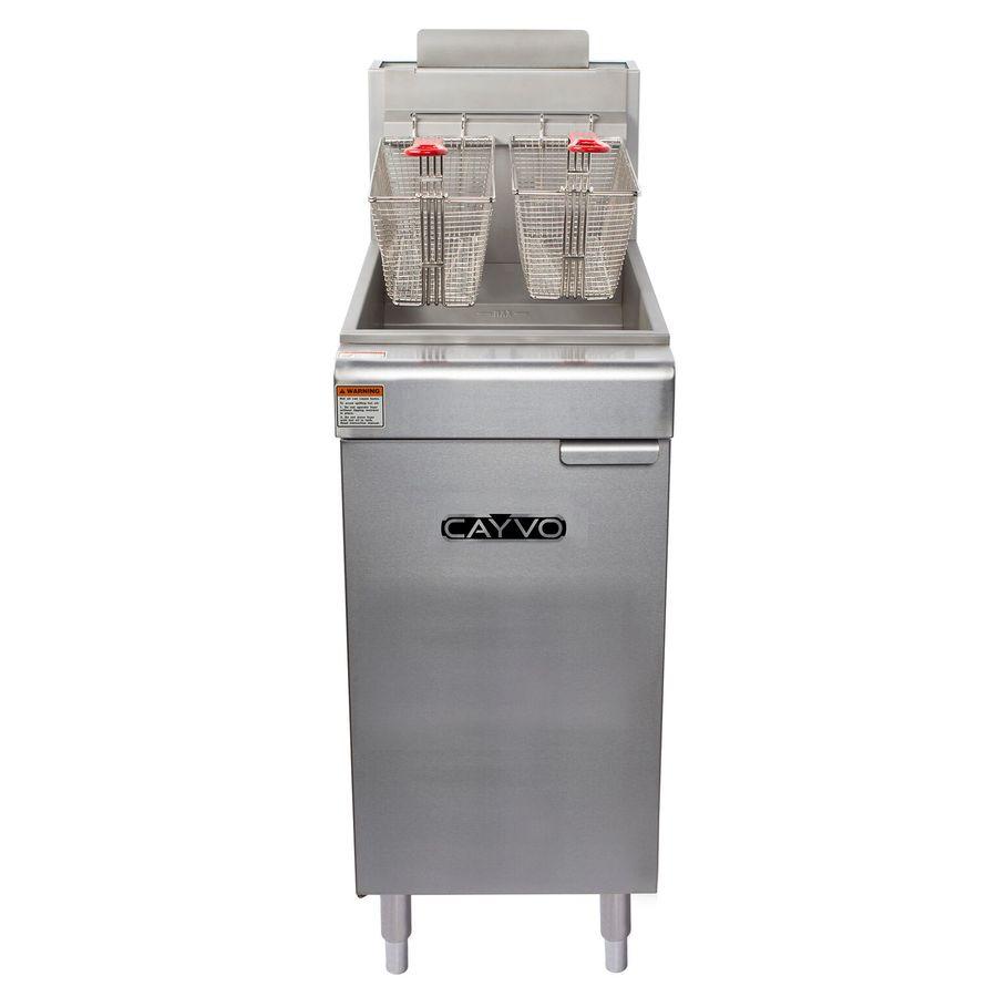CAYVO 40-lb 2-Basket 90,000-BTU Commercial Deep Fryer