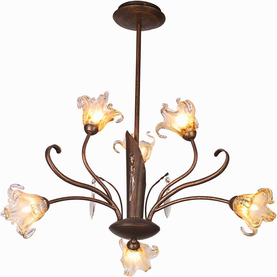 Pyramid Creations Bloom 22-in 6-Light Antique Bronze Tinted Glass Chandelier