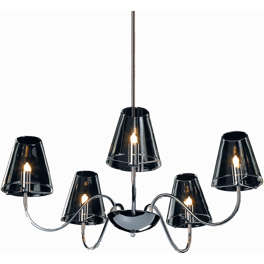 Pyramid Creations Chic 26-in 5-Light Polished Chrome Clear Glass Chandelier