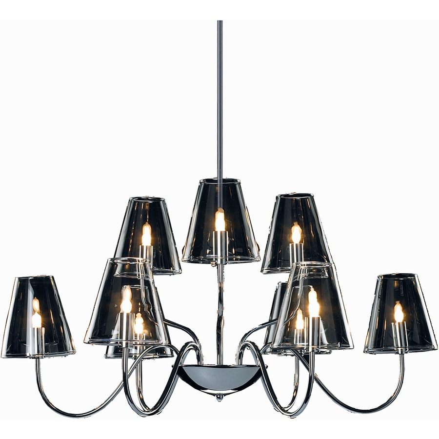 Pyramid Creations Chic 27-in 9-Light Polished Chrome Clear Glass Chandelier