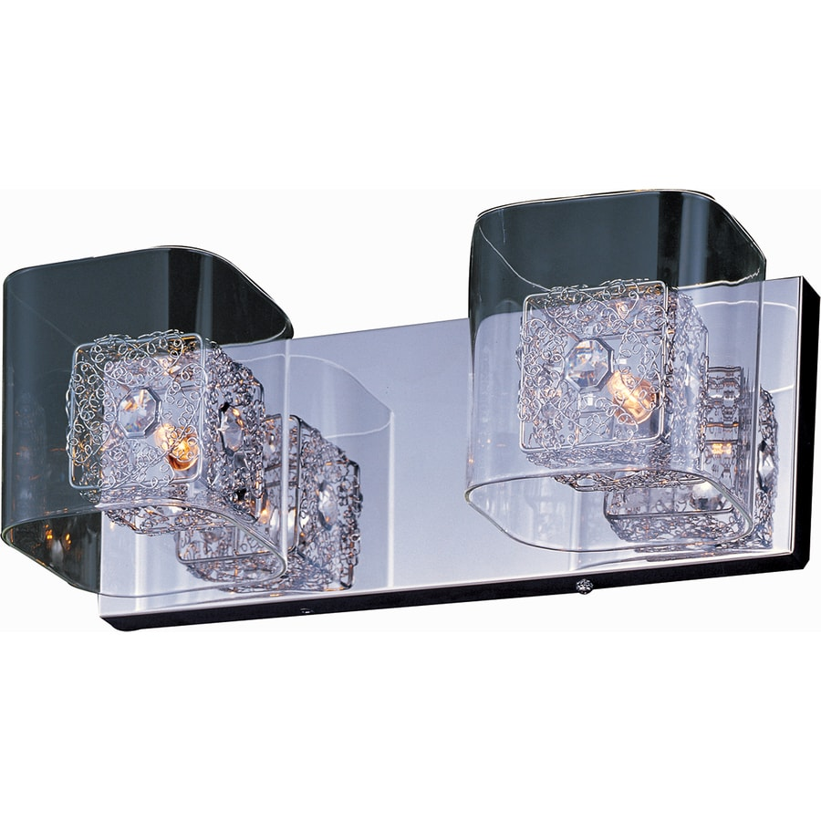 Pyramid Creations Gem 2-Light 5-in Polished Chrome Rectangle Vanity Light