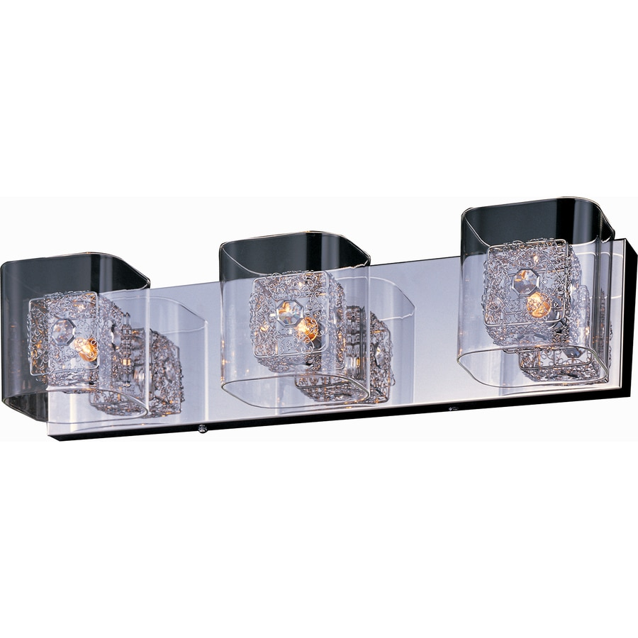 Pyramid Creations Gem 3-Light 5-in Polished Chrome Rectangle Vanity Light