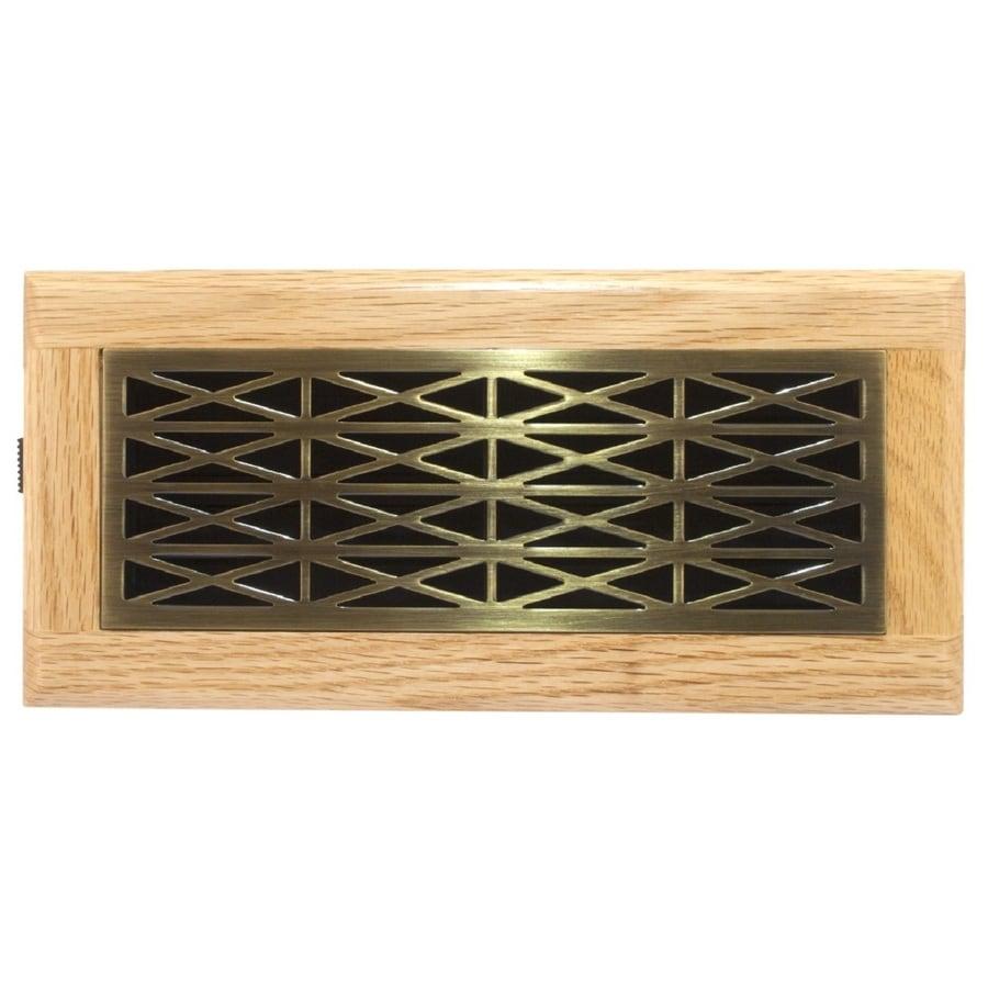 Accord Trellis Antique Brass Steel Floor Register (Rough Opening: 4-in x 10-in; Actual: 5.39-in x 11.42-in)