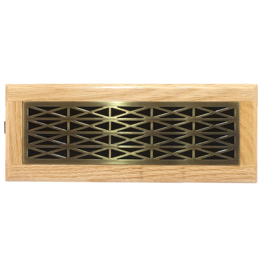 Accord Trellis Antique Brass Steel Floor Register (Rough Opening: 12-in x 4-in; Actual: 13.42-in x 5.39-in)