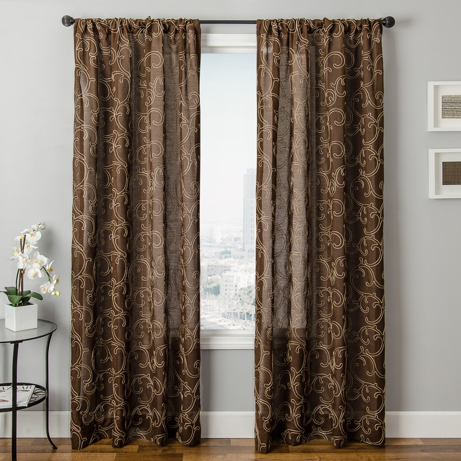 Allen + Roth Everly 63 In Chocolate Polyester Rod Pocket Single Curtain  Panel