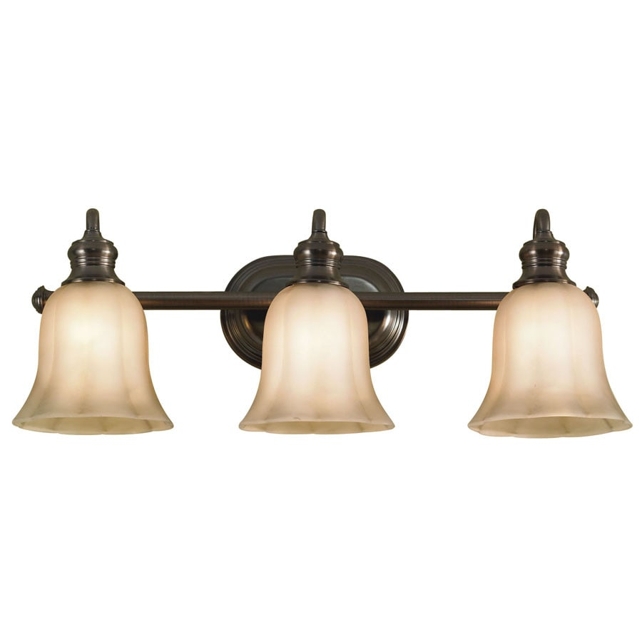 Shop allen roth 3 light forsyth oil rubbed bronze for Bathroom light fixtures lowes