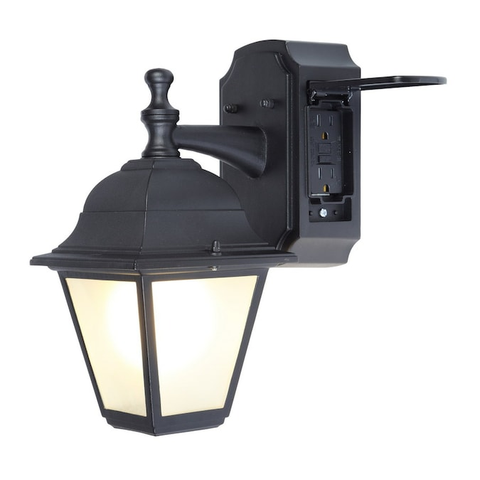 Portfolio 11 81 In H Black Medium Base E 26 Outdoor Wall Light In The Outdoor Wall Lights Department At Lowes Com