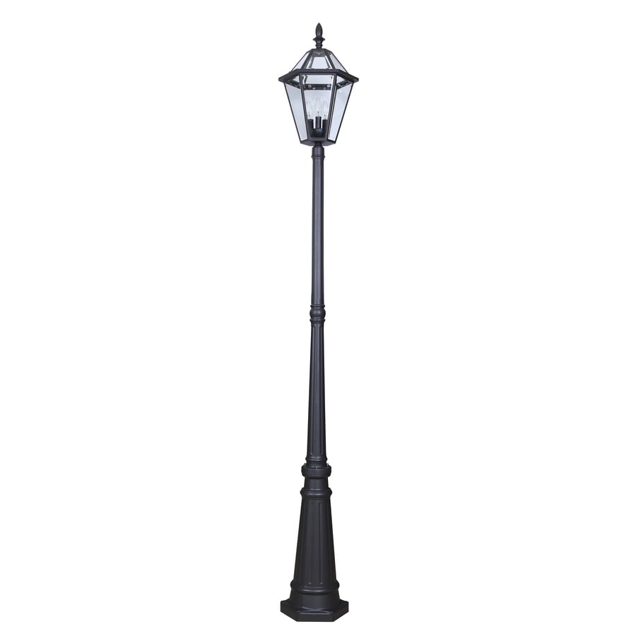 Outdoor Electric Lamp Post: Shop Portfolio 88.58-in H Specialty Textured Black Post