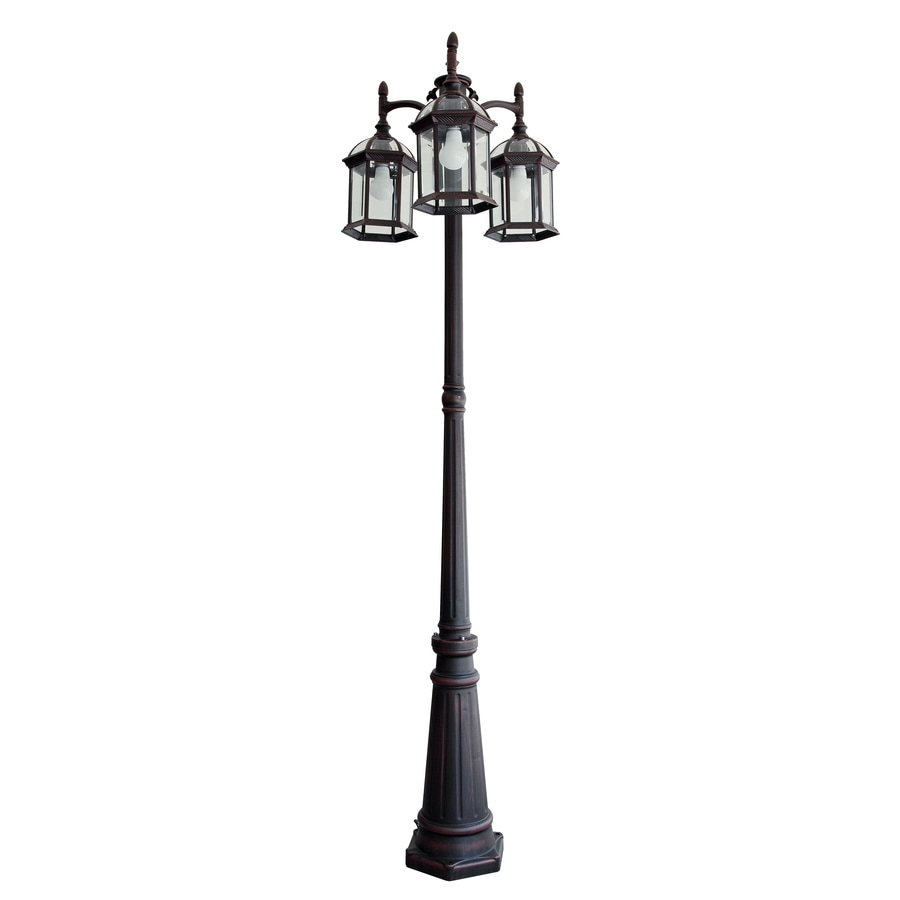 Shop post lighting at lowes portfolio 782 in h rust post light aloadofball