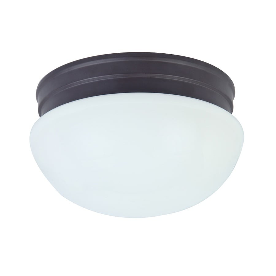 Project Source 9.25-in W Oil-Rubbed Bronze LED Flush Mount Light