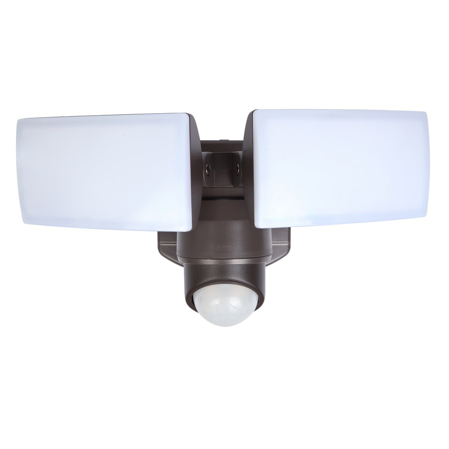 Shop security flood lights at lowes utilitech 180 degree 2 head dual detection zone bronze integrated led motion activated aloadofball Image collections