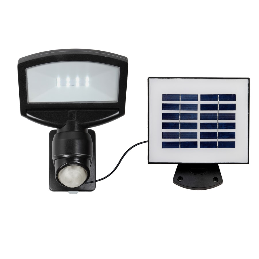 Utilitech Pro 180-Degree 1-Head Black Solar Powered LED Motion-Activated Flood Light with Timer