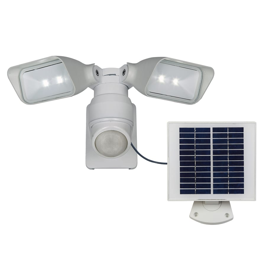 Utilitech Pro 180-Degree 2-Head White Solar Powered Integrated LED Motion-Activated Flood Light with Timer