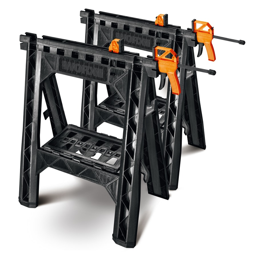 WORX 27-in ABS Plastic Clamping Saw Horses (1,000-lb Weight Capacity)