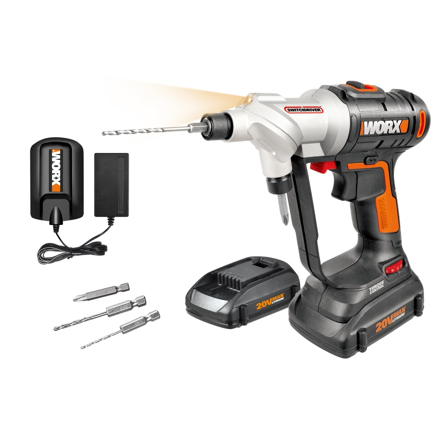 WORX 20-Volt Max Lithium Ion (Li-ion) 1/4-in Cordless Drill with Battery