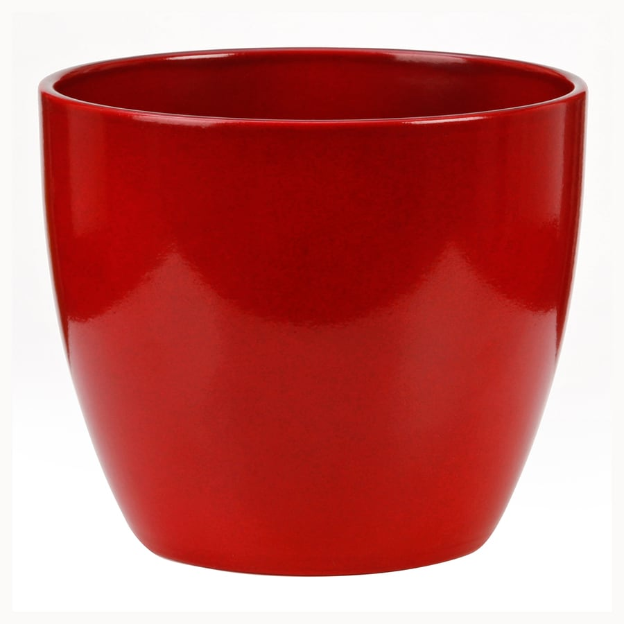 9.75-in x 8.75-in Energy Red Ceramic Planter