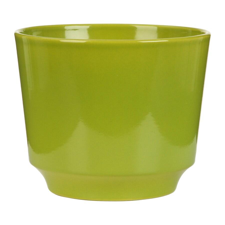 5.5-in x 4.5-in Pure Green Ceramic Planter
