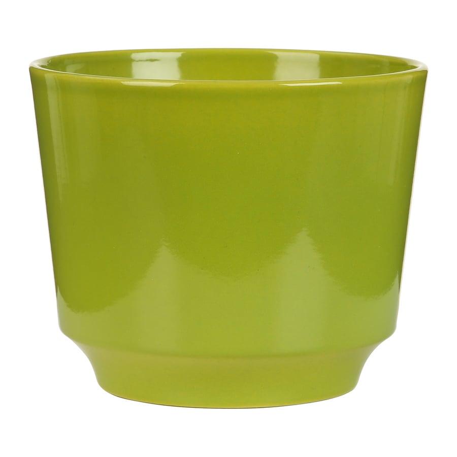6.25-in x 5-in Pure Green Ceramic Planter