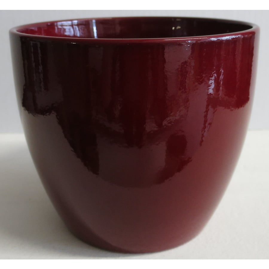Shop 11 In X 10 In Dark Red Ceramic Planter At Lowes Com