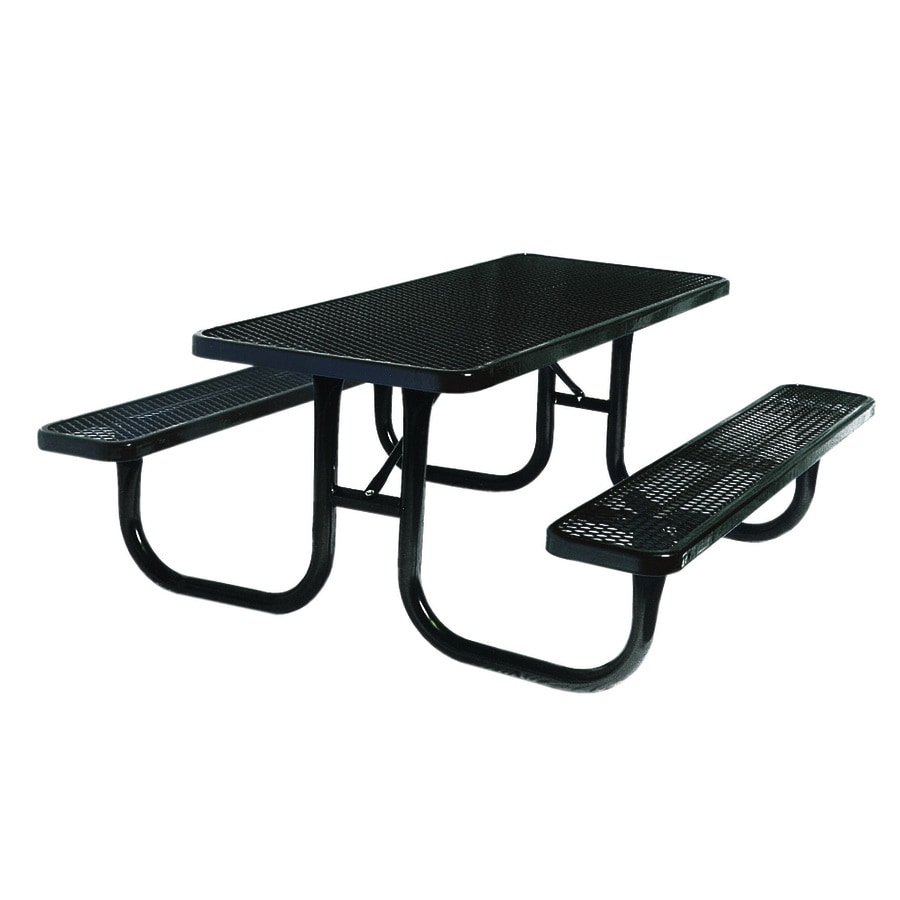 Ultra Play 96-in Black Steel Rectangle Picnic Table