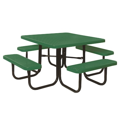 Incredible Ultra Play 46 In Green Steel Square Picnic Table At Lowes Com Bralicious Painted Fabric Chair Ideas Braliciousco