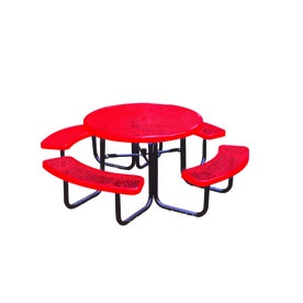 Ultra Play 46 In Red Steel Round Picnic Table
