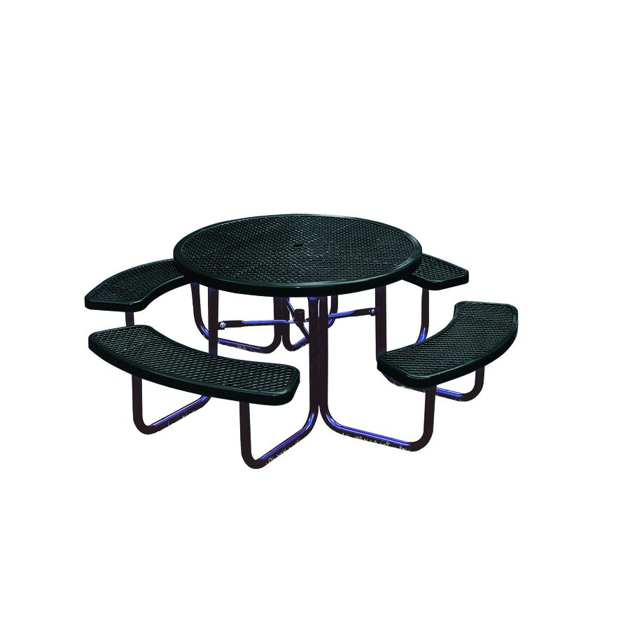 Ultra Play 46-in Black Steel Round Picnic Table