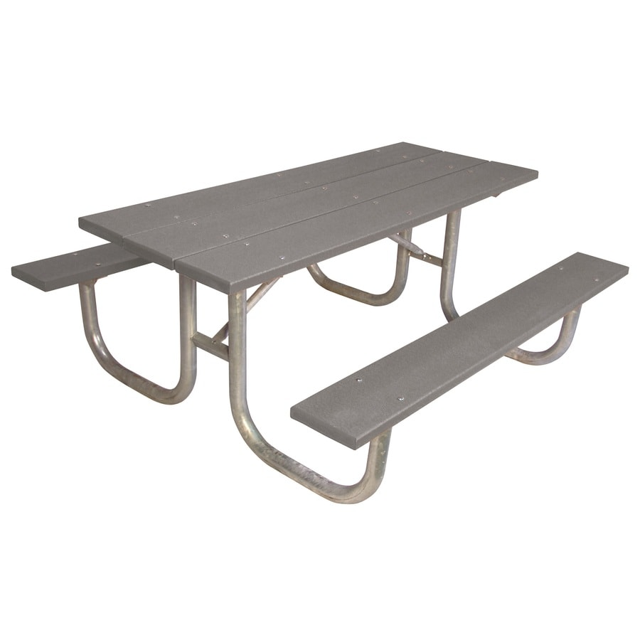 Ultra Play 72-in Gray Recycled Plastic Rectangle Picnic Table