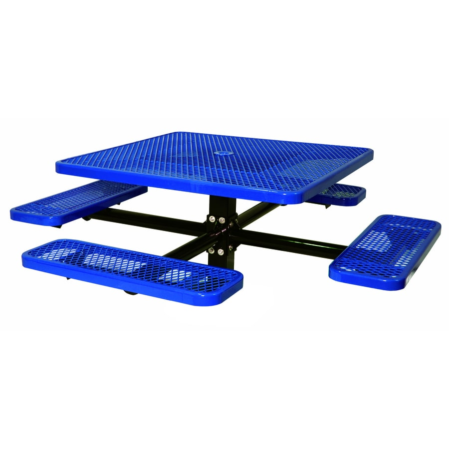 Ultra Play 46-in Blue Steel Square Picnic Table