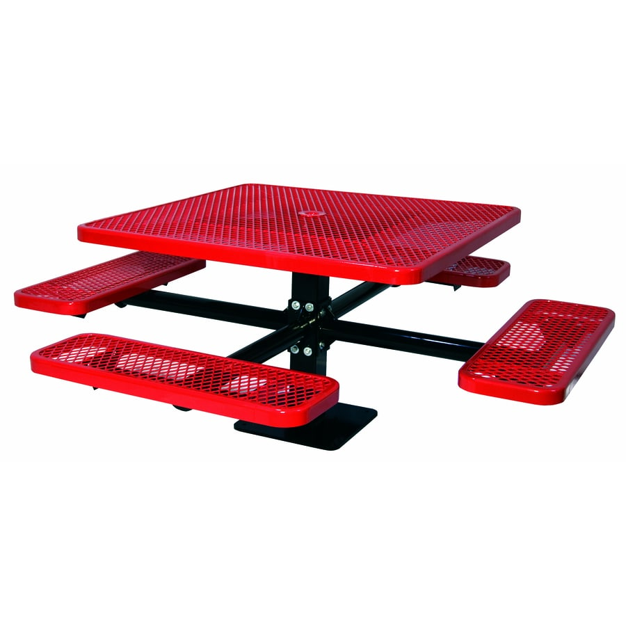 Ultra Play 46-in Red Steel Square Picnic Table
