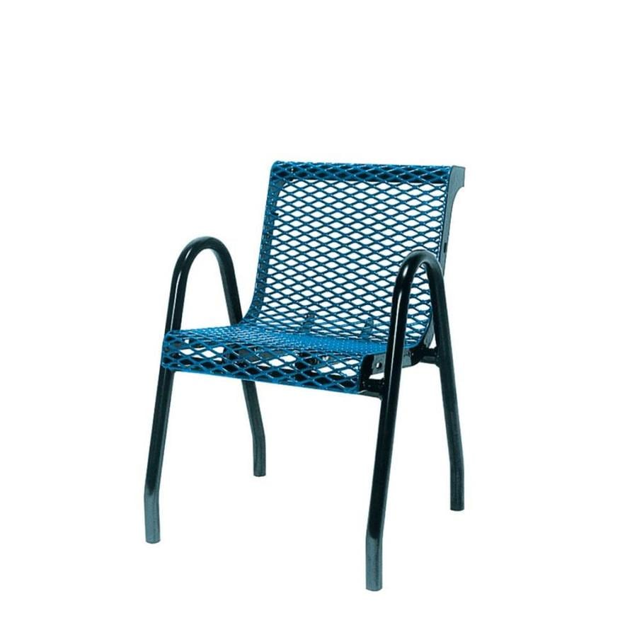 Ultra Play 22-in L x 24-in D x 32-in H UltraCoat Series Steel Thermoplastic Coated Blue Planks with Black Powder Coated Frame Park Chair