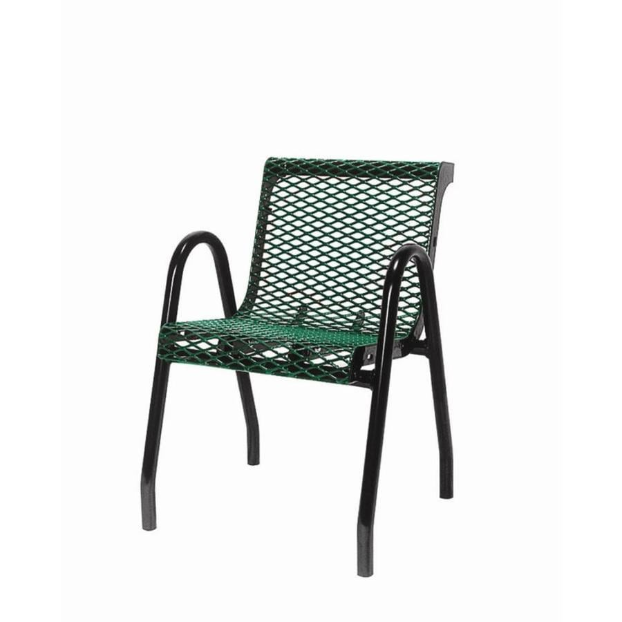 Ultra Play 22-in L x 24-in D x 32-in H UltraCoat Series Steel Thermoplastic Coated Green Planks with Black Powder Coated Frame Park Chair